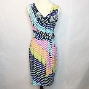 London Times Rainbow Striped Dress Size 4 Stretch